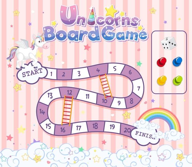 Gioco da tavolo per bambini in modello di stile di colore pastello unicorno Vettore Premium