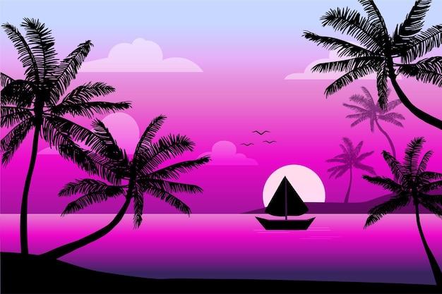Fondo della siluetta della palma degli uccelli e della barca Vettore Premium