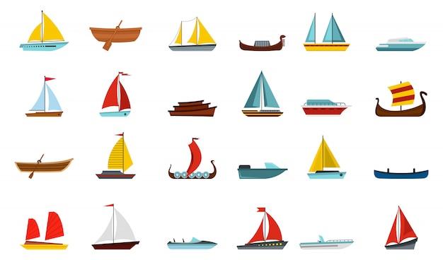 Set di icone di barca. insieme piano della raccolta delle icone di vettore della barca isolato Vettore Premium