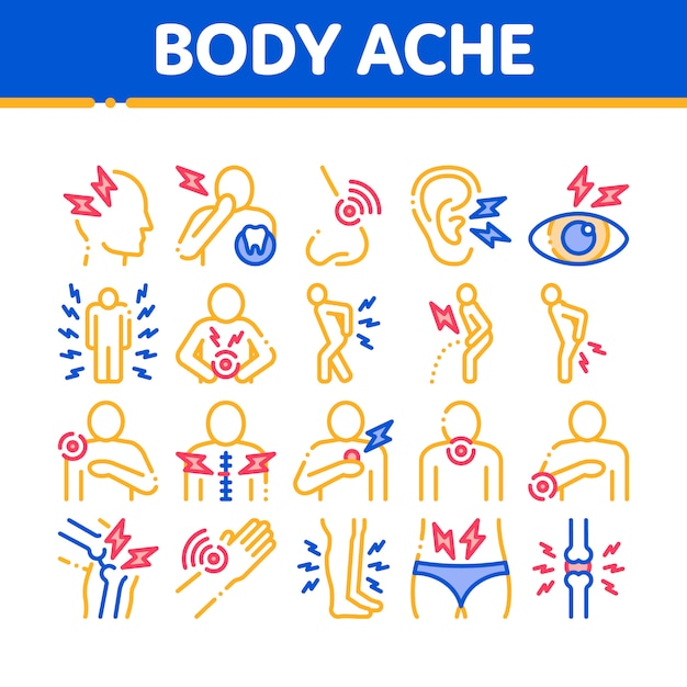 Insieme di icone degli elementi della raccolta di dolore del corpo Vettore Premium
