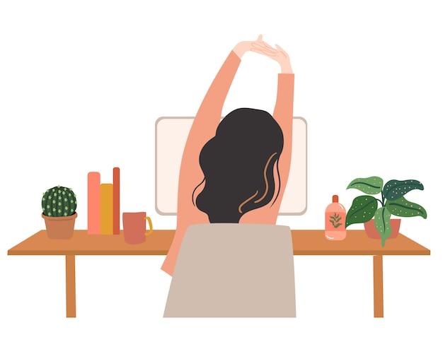 Allungamento del corpo mentre si lavora illustrazione vectpr Vettore Premium