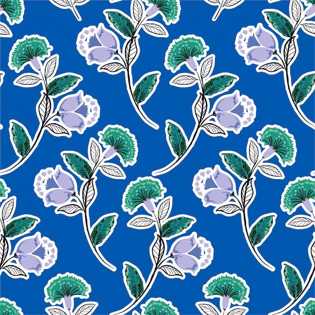 Bohemien floreale, monotono verde viola seamless vector pattern, disegnati a mano stile folk illustrazione, design per moda, tessuto, stampe, carta da parati, avvolgimento e tutte le stampe Vettore Premium