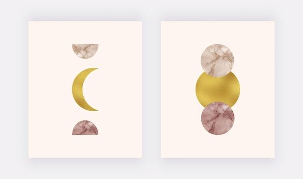 Boho wall art print con inchiostro alcolico luna e sole, trama lamina d'oro. Vettore Premium