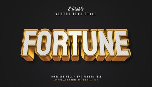 Grassetto stile di testo fortune in bianco e oro con effetto strutturato e goffrato Vettore Premium