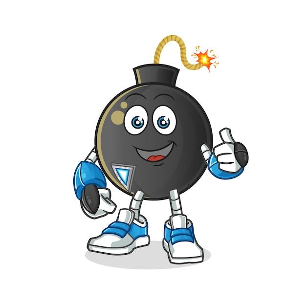 Personaggio robot bomba. mascotte dei cartoni animati Vettore Premium