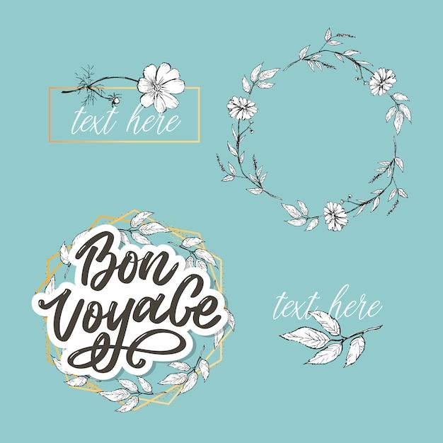 Bon voyage hand lettering calligraphy travel Vettore Premium