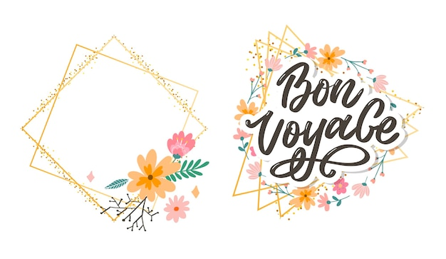 Bon voyage hand lettering Vettore Premium