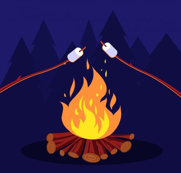 Falò e marshmallow. amici di notte in campeggio al fuoco. marshmallow concept Vettore Premium