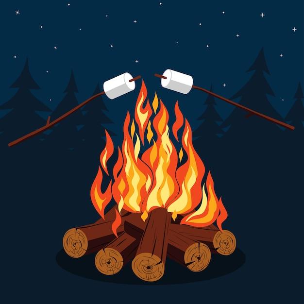 Falò con marshmallow - campeggio, catasta di legna in fiamme. Vettore Premium