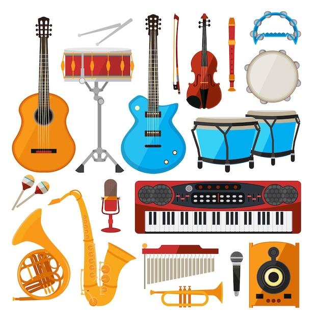 Bongo, batteria, chitarra e altri strumenti musicali. pianoforte e sassofono, chitarra e tromba Vettore Premium