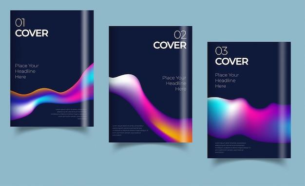 Rapporto annuale del disegno di copertina del libro, rivista. set di affari. illustrazione Vettore Premium
