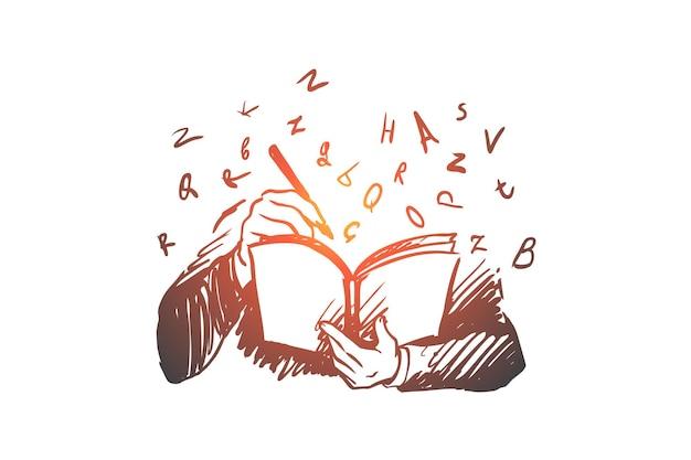 Libro, conoscenza, studente, lettura, concetto di lettere. schizzo di concetto di libro di lettura persona disegnata a mano. Vettore Premium