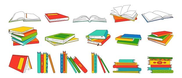Prenota insieme lineare del fumetto. pagine bianche vuote per la biblioteca. libri di testo in bianco disegnati a mano, copertine rigide. leggere, imparare e ricevere istruzione attraverso la raccolta di libri. Vettore Premium