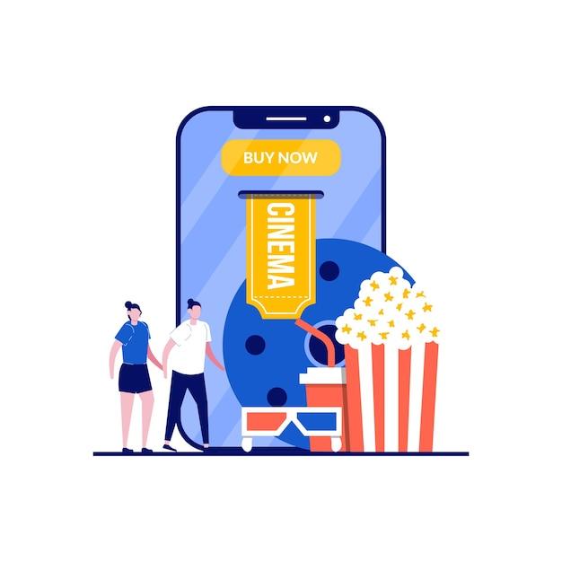 Prenotazione biglietti per il cinema online con coppia in piedi vicino a elementi del cinema. Vettore Premium