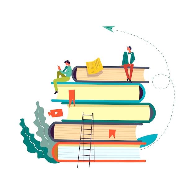 Libri con persone che leggono e prendono informazioni Vettore Premium