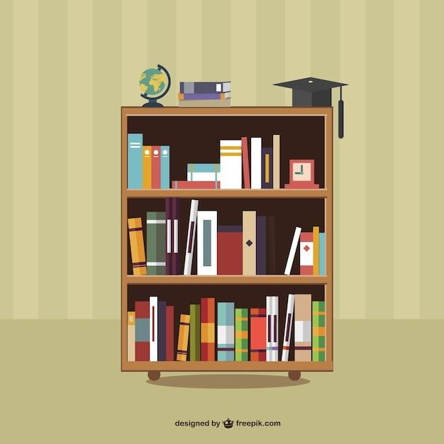 Libri su scaffali Vettore Premium