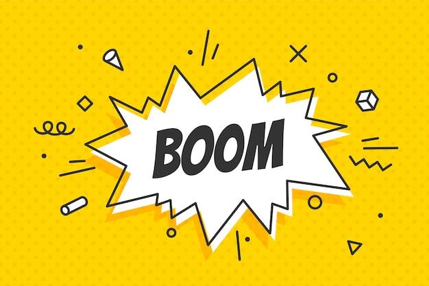 Boom, fumetto. concetto di banner, fumetto, poster e adesivo Vettore Premium