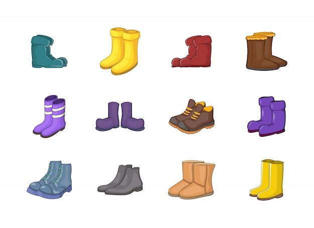 Set di elementi di stivali. insieme del fumetto degli elementi di vettore degli stivali Vettore Premium