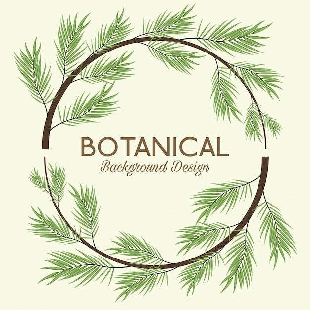 Sfondo botanico con ghirlanda di foglie Vettore Premium