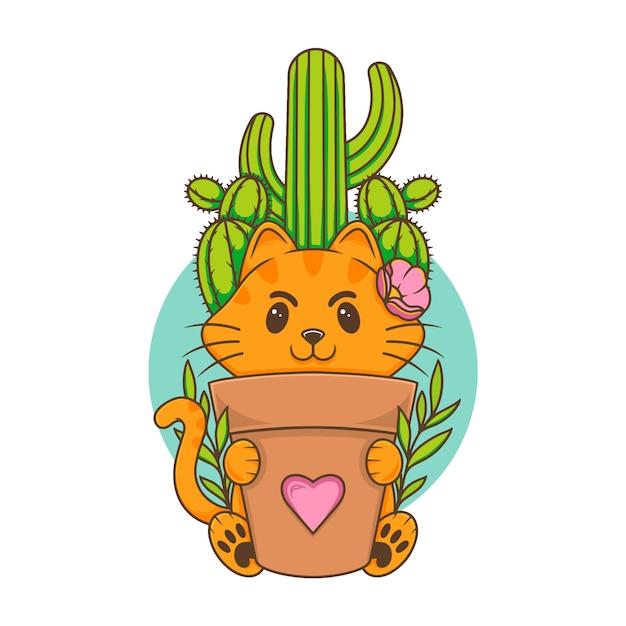 Illustrazione botanica di cat cute kawaii Vettore Premium