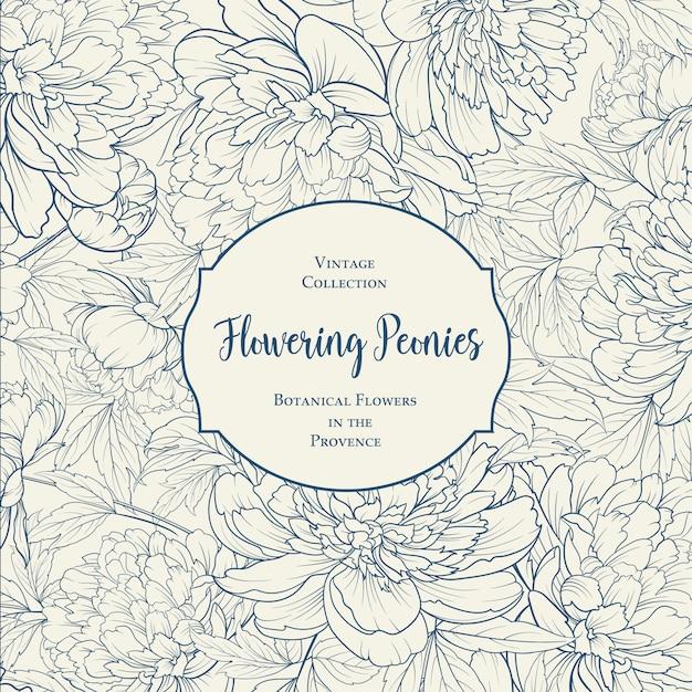 Progetto di copertina botanica con elementi floreali. Vettore Premium