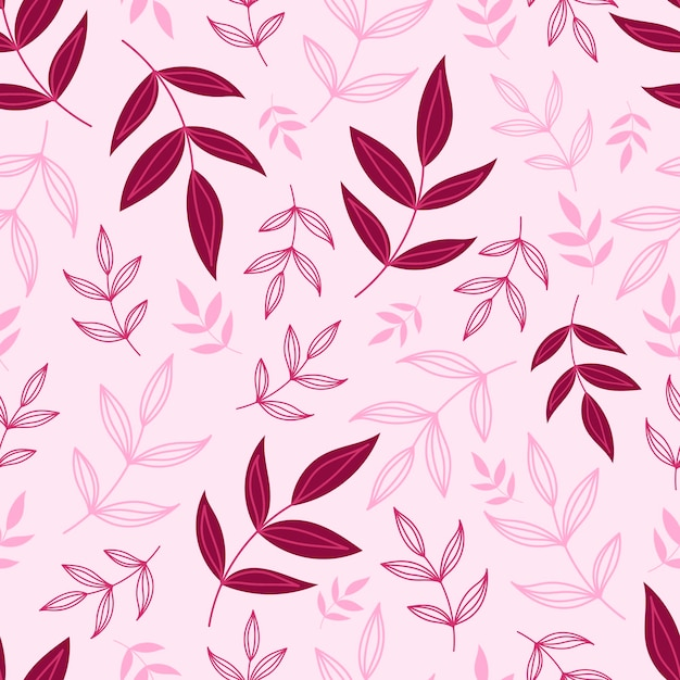 Modello senza cuciture botanico con foglie verdi. sfondi di foglie e fiori. sfondo di fiori. Vettore Premium