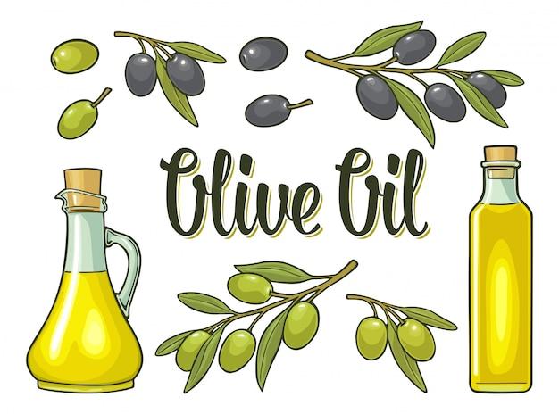 Bottiglia di olio di vetro con tappo di sughero e ramo di ulivo con foglie Vettore Premium