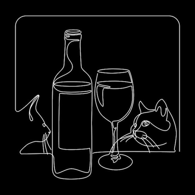 Bottiglia e bicchiere di vino con i gatti Vettore Premium
