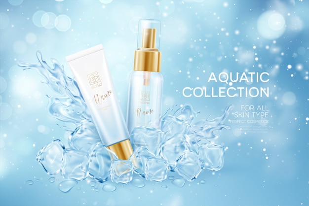 Bottiglie di cosmetici in cubetti trasparenti ghiacciati in acqua spruzzata corona isolata Vettore Premium