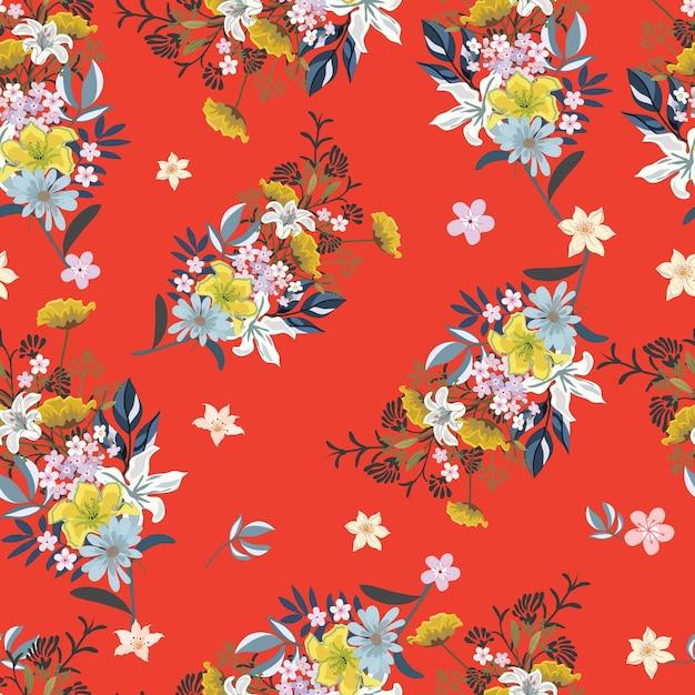 Bouquet di fiori su sfondo rosso modello seamess. Vettore Premium