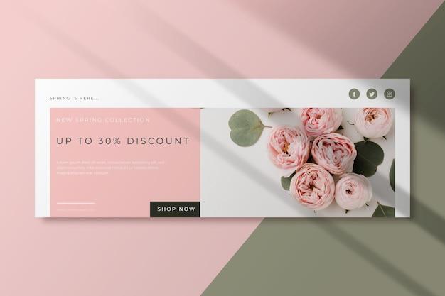 Bouquet di rose primavera modello copertina facebook Vettore Premium