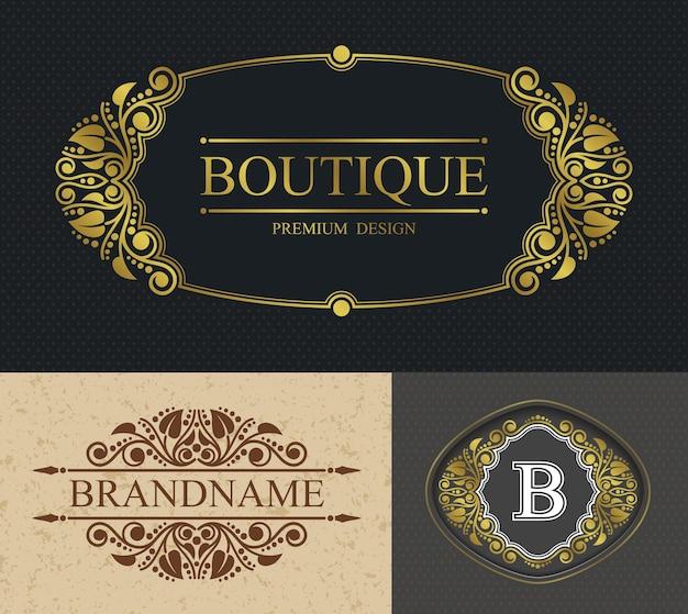 Bordo calligrafico boutique e modello di lettera b, modello alligrafico retrò bordo lussuoso Vettore Premium