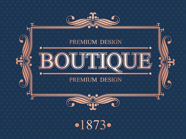 Bordo calligrafico boutique Vettore Premium