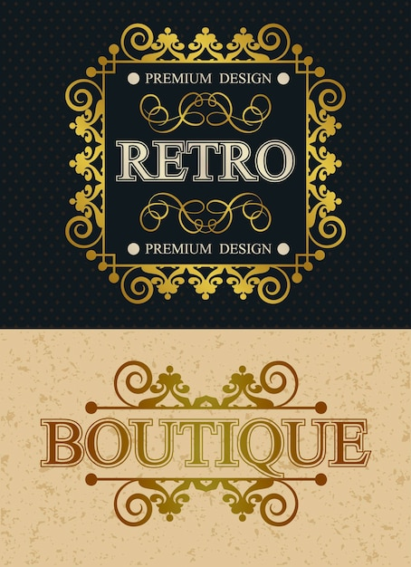 Elementi di design vintage monogramma di marca boutique e retrò, modello calligrafico retrò bordo lussuoso, decorazioni eleganti linee reali Vettore Premium