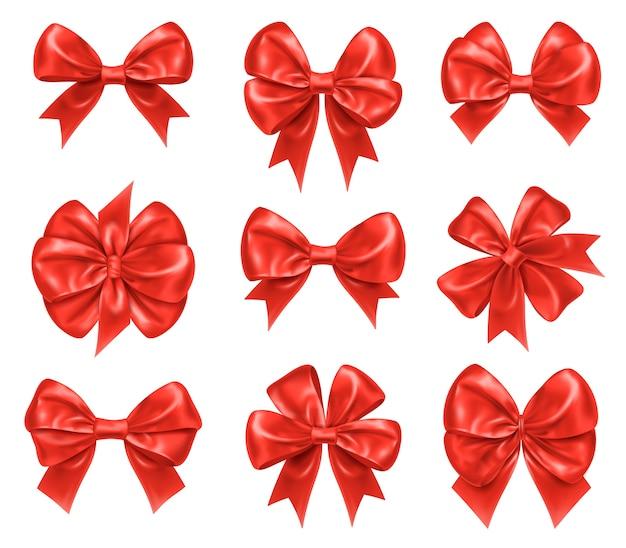 Nodi di prua per decorazioni regalo di natale e capodanno. Vettore Premium