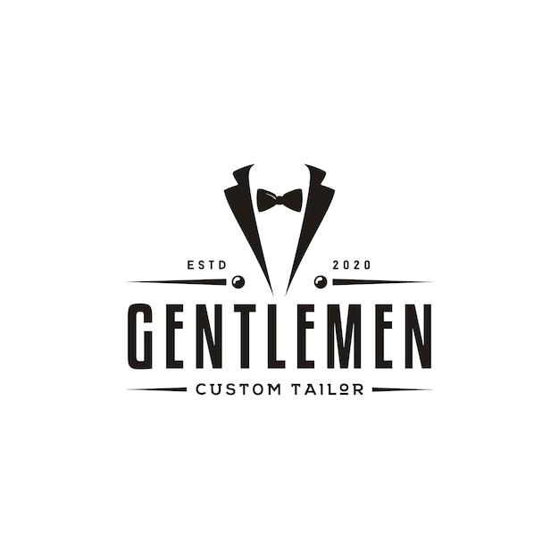 Abito da smoking da uomo gentleman fashion tailor clothes design classico logo vintage Vettore Premium