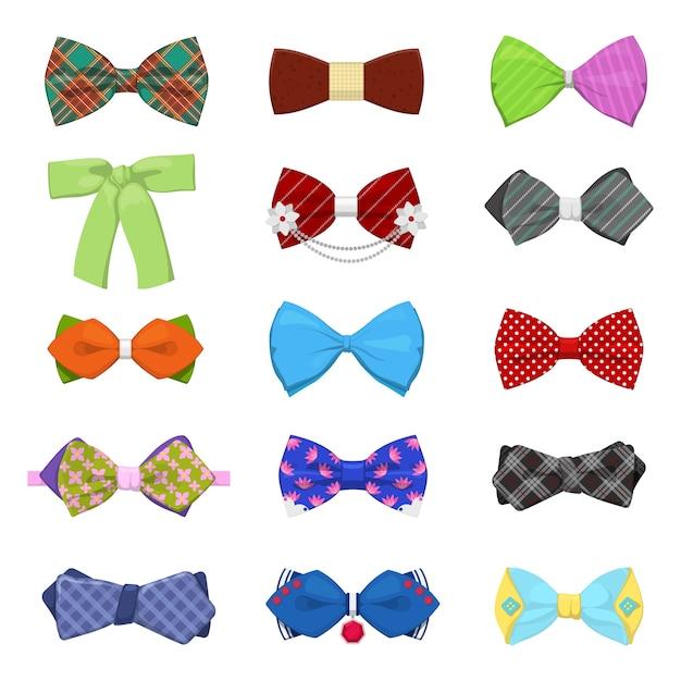 Set di papillon per celebrazioni e feste. moda maschile. Vettore Premium