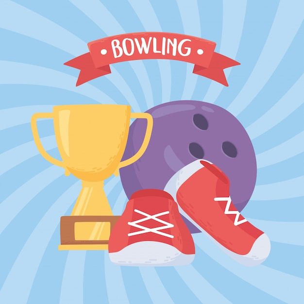 Scarpe da bowling e trofeo gioco sport ricreativo design piatto illustrazione vettoriale Vettore Premium