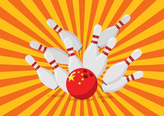 La palla da bowling con la bandiera cinese rompe i birilli Vettore Premium