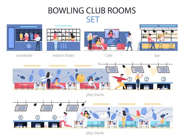 Set interni sala bowling club. persone che vanno a giocare a bowling nella zona di gioco, trascorrono del tempo al bar e scelgono scarpe da bowling. illustrazione Vettore Premium