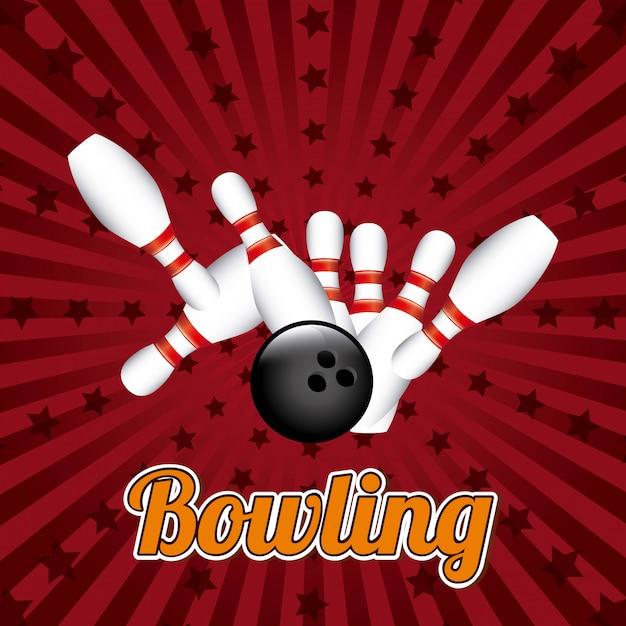 Progettazione di bowling sopra l'illustrazione rossa di vettore del fondo Vettore Premium