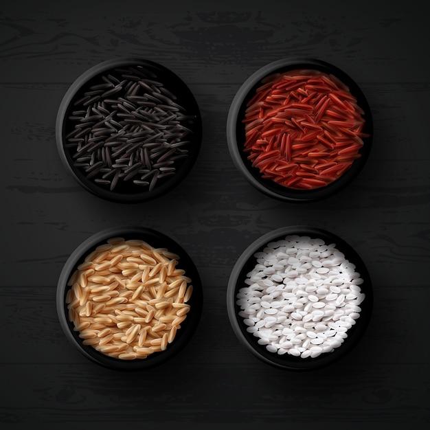 Ciotole con diverse varietà di riso: rosso, marrone, selvatico e bianco o per sushi su fondo di legno nero, vista dall'alto Vettore Premium
