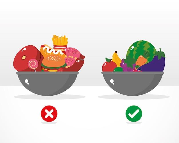 Ciotole con illustrazione di cibo sano e malsano Vettore Premium