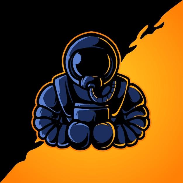 Logo della mascotte di boxe astronaut e sport Vettore Premium
