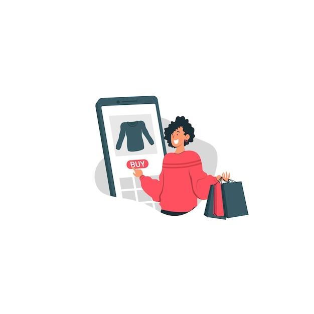 Vendita di santo stefano con il sacchetto della spesa felice della tenuta della ragazza e compra l'illustrazione di tendenza Vettore Premium