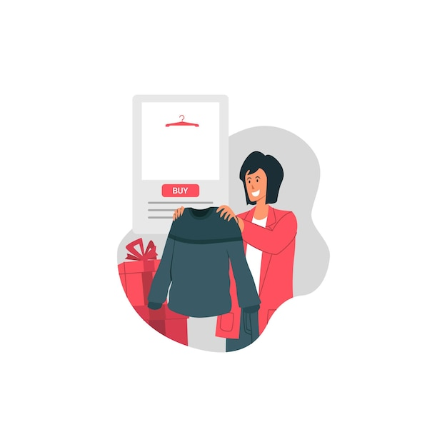 Vendita di santo stefano con il maglione felice della stretta della ragazza e compra l'illustrazione di tendenza Vettore Premium