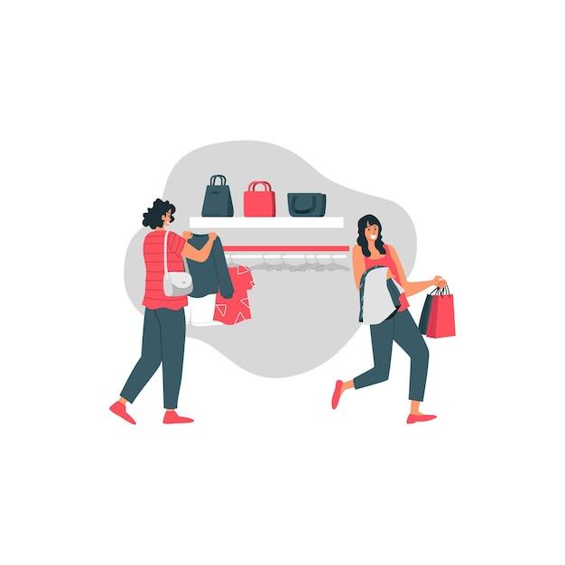 Vendita di santo stefano con felice ragazza tenere maglione e shopping bag illustrazione Vettore Premium