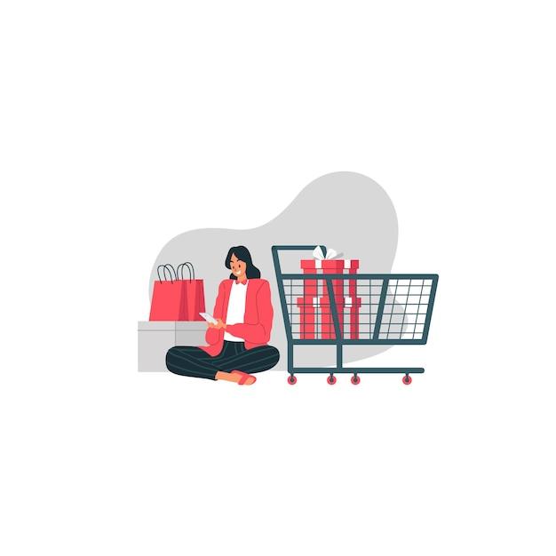 La vendita di santo stefano con la ragazza felice sta ordinando le merci attraverso la sua illustrazione del cellulare Vettore Premium