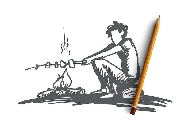 Ragazzo, falò, estate, riposo, concetto di scout. il ragazzo disegnato a mano si siede vicino allo schizzo di concetto di marshmallow di falò e arrosti. Vettore Premium