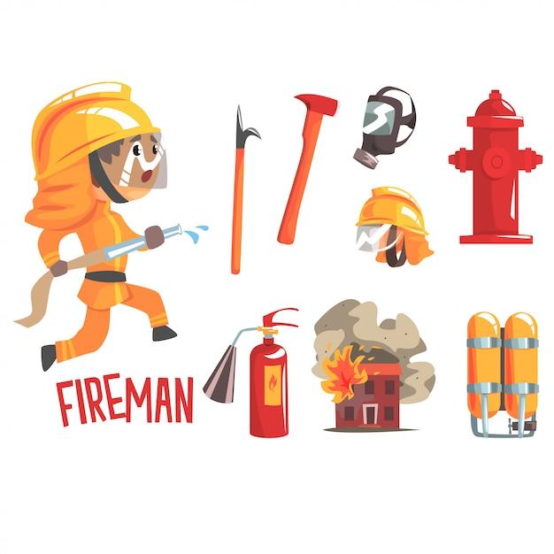 Pompiere del ragazzo, illustrazione professionale di occupazione del pompiere di sogno futuro dei bambini con relativa agli oggetti di professione Vettore Premium